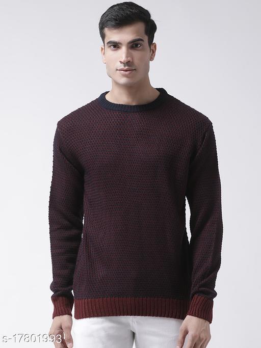 Club York Men's Navy Blue Full Sleeve Self Design Round Neck Sweater