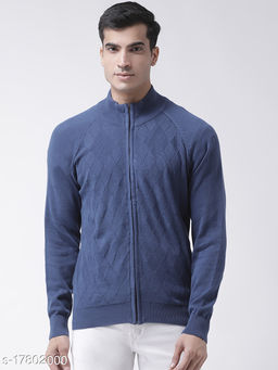 Club York Men's Blue Raglan Sleeve Self Design High Neck With Front Full Zipper Sweater