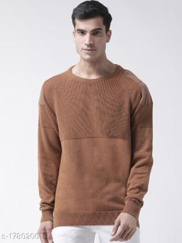Club York Men's Khaki Full Sleeve Self Design Round Neck Sweater