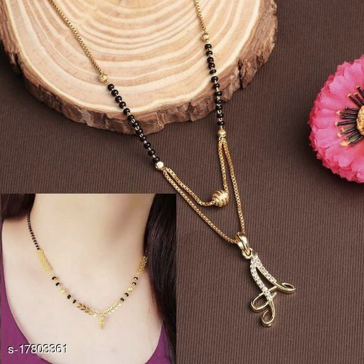 Mahir7 New stylish A Alphabet Mangalsutra with combo for Women