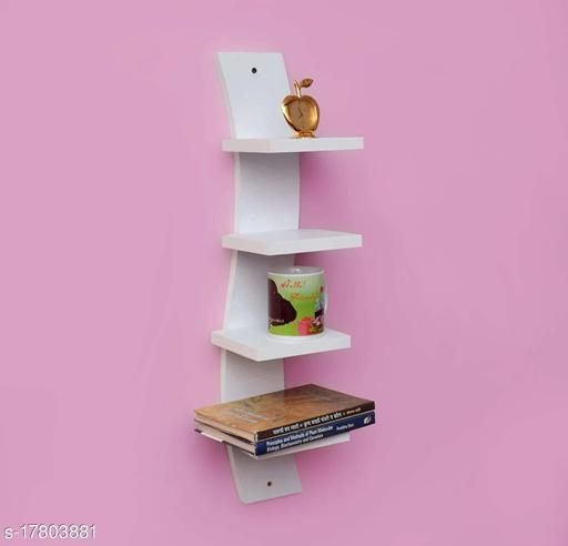 Home Dcore MDF Wall Mount Curve Shape Spine 4 Tier Floating Decorative Wall Shelf