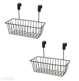 Tradevast Hanging Door Metal Basket Wire Rack for Extra Cabinet Storage for Kitchen, Bathroom & Refrigerator Organizer - Set of 2 (Black)
