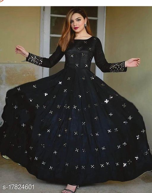 Rayon gown with heavy work