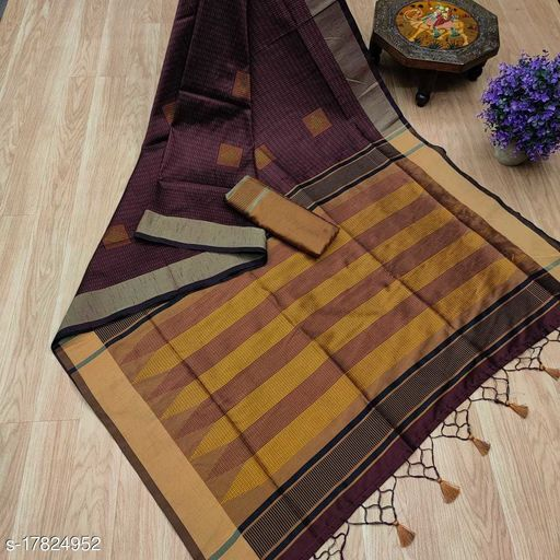 Unique Weaves Soft Raw Silk All Over KATHA Weaving saree with ikkat woven pallu