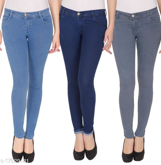 (Pack of 3), Multicolor, Silky Denim, 5-pocket mid-rise jeans, clean look with no fade, has a button and zip closure, waistband with belt loops
