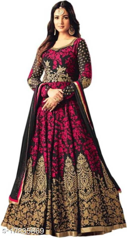 RJ FEBRIC Embroidered Art Silk Semi Stitched Gown (Pink)