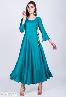 Women's Green Solid Rayon Anarkali Kurta