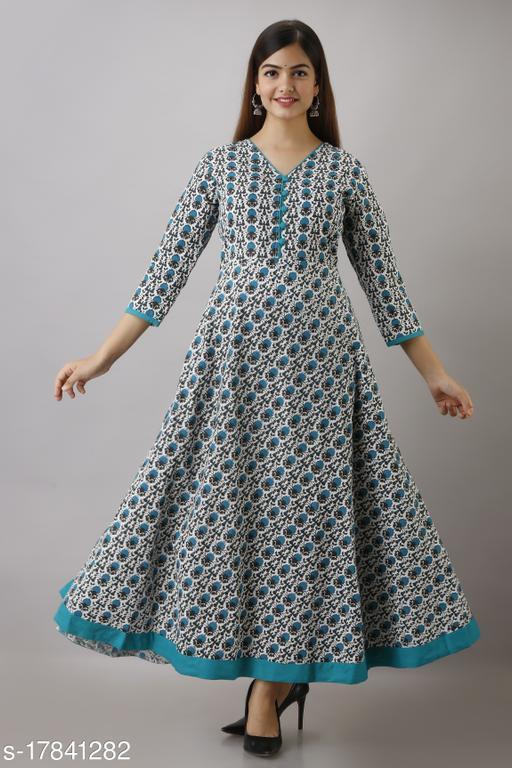 Women's Blue Floral Cotton Anarkali Kurta