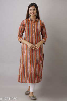 Women Cotton Straight Striped Orange Kurti