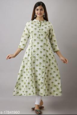 Women's Green Printed Cotton A-Line Kurta