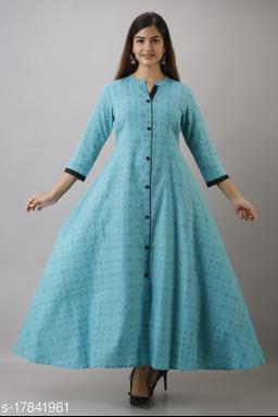 Women's Blue Printed Cotton Anarkali Kurta