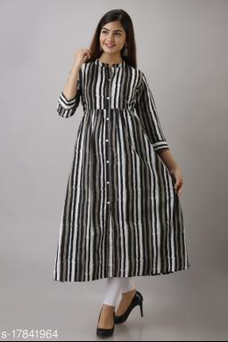 Women's Black & White Stripes Cotton A-Line Kurta