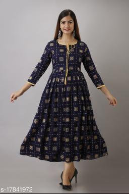 Women's Blue Foil Printed Rayon Anarkali Kurta