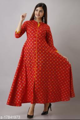 Women's Red Printed Cotton Anarkali Kurta