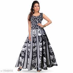 UniqueChoice 100% Cotton  Black Color Printed Dress (Mexi)