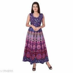 UniqueChoice 100% Cotton  Purple Color Printed Dress (Mexi)