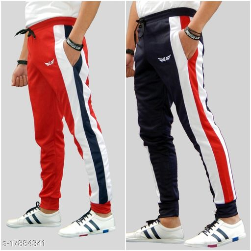 Pack of 2 Color Block Dry Fit Polyster Honey Comb Track Pants