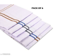 6 Piece Classic White Striped 100% Cotton Men's Handkerchiefs