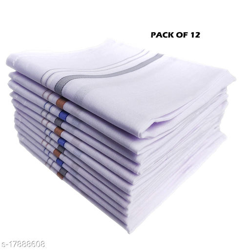 12 Piece Classic White Striped 100% Cotton Men's Handkerchiefs