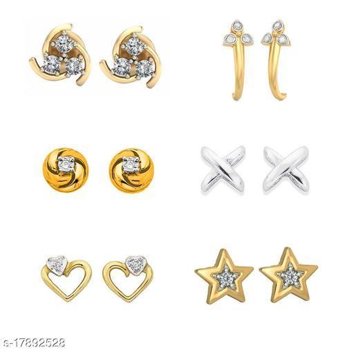 American Diamond Gold Plated earrings combo of 6 stud earrings -DS04