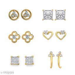 American Diamond Gold Plated earrings combo of 6 stud earrings -DS01