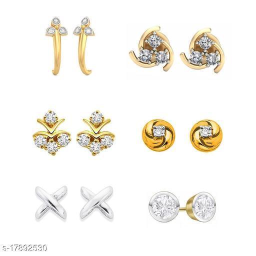 American Diamond Gold Plated earrings combo of 6 stud earrings -DS05