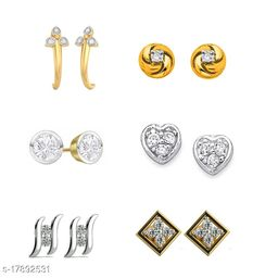 American Diamond Gold Plated earrings combo of 6 stud earrings -DS03