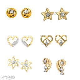 American Diamond Gold Plated earrings combo of 6 stud earrings -DS02
