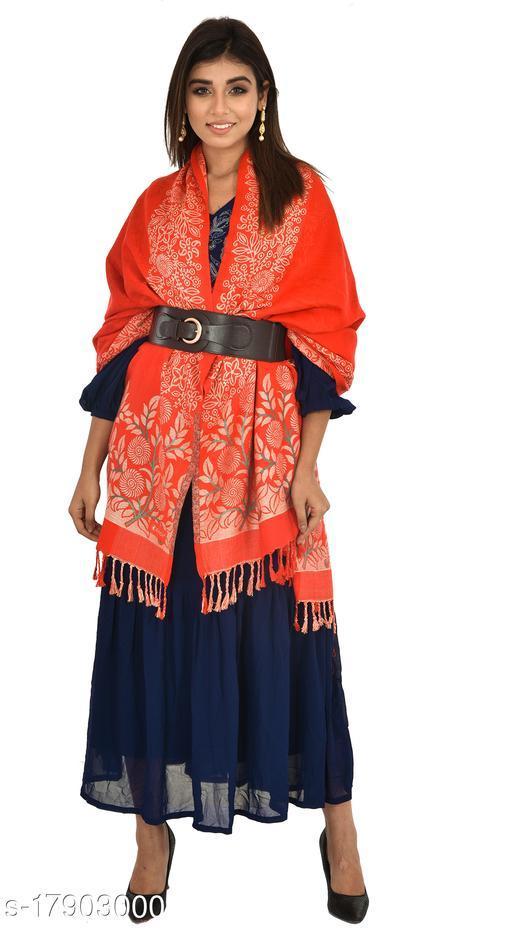 """Women's Soft Wool Faux Pashmina Shawl, Self Design Shawl, Wraps (Size 40""""X80"""")"""