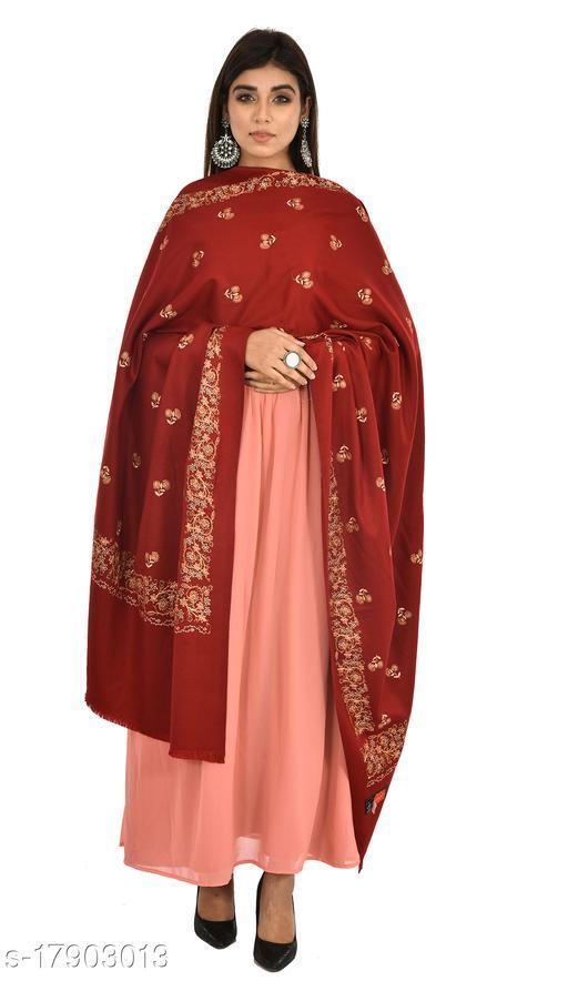 "Women's Faux Pashmina Kashmiri Kingri with Buta Embroidery Shawl (Size 40""X80"") (Maroon)"