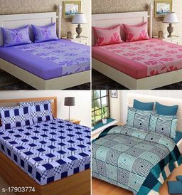 New Attractive Polycotton Double Bedsheet Combo(Pack of 4)