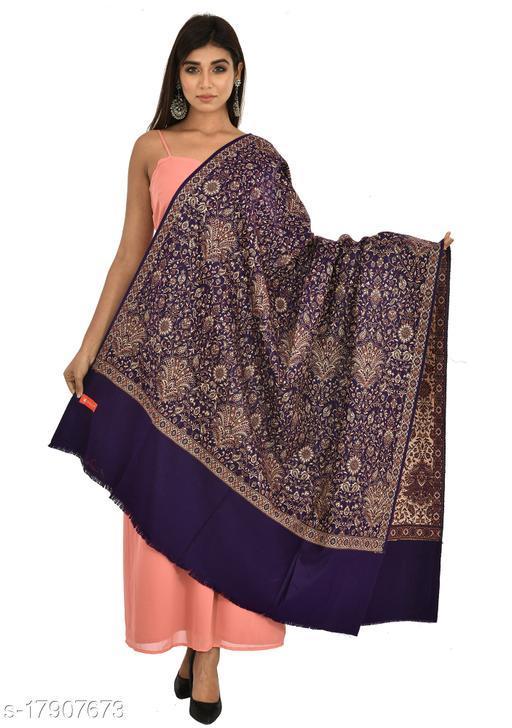 Women's Full Printed Kalamkari Design Shawl (Navy Blue)