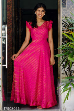 Glorious Rani pink Colored Partywear Jacquard Gown