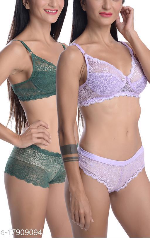 Women's Self-Design Super Net Lingerie Sets