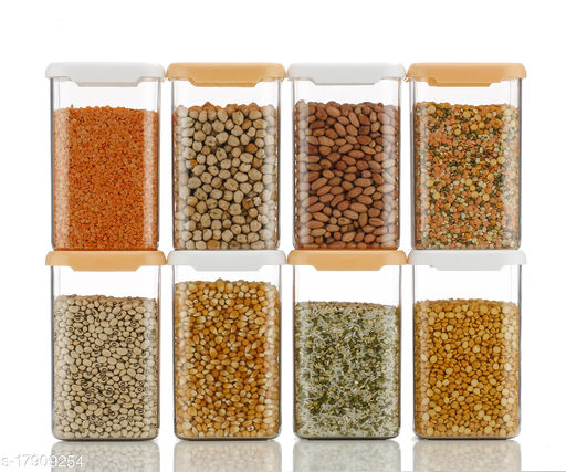 Cereal Dispenser Easy Flow Storage Jar 1100 ml, Idle for Kitchen- Storage Box Lid Food Rice Pasta Pulses Container, Square Containers for Kitchen Set of 8 ||4 orange 4white||