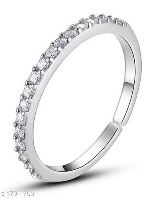 Saraa Dazzling American Diamond Round Shape Long Ring for Girls(Mixed Size)