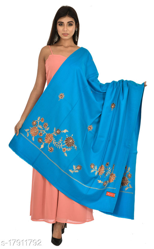 Women's Kashmiri Kingri with Machine Embroidery Shawl, Wraps (Firozi)