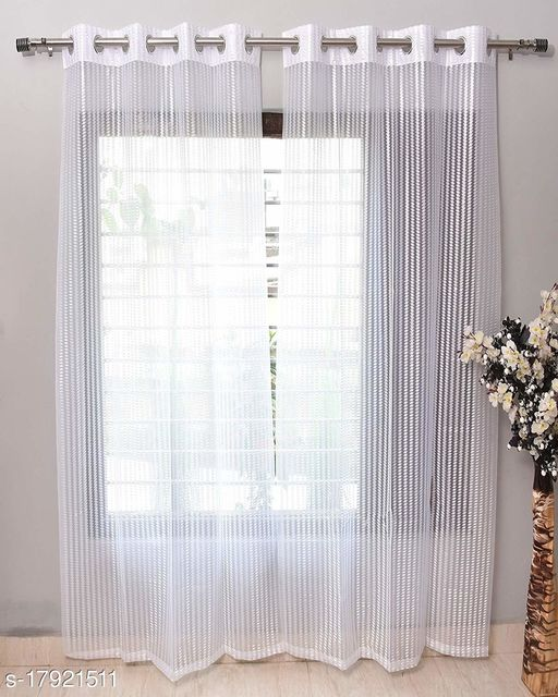 Craftos Luxury Homes White Polyster Net Plane 5 Feet Curtains for Door (Pack of 1)