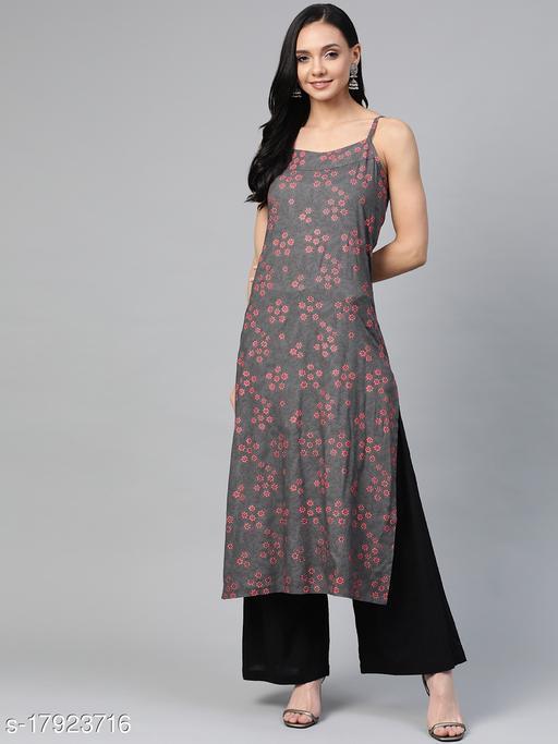 Jompers printed rayon shoulder strap kurta