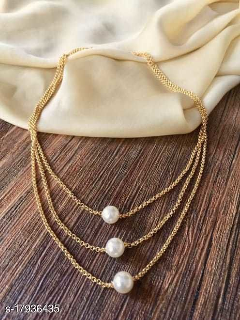 Vesture Knot Gold Pearl 3 Layer Chain Necklace For Girls/Women