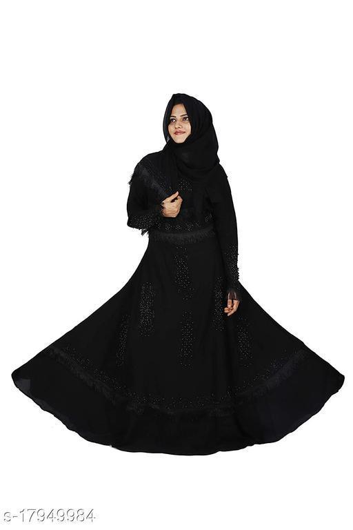 Women Lace & Stone Work Black Firdous Fabric Abaya Burqa With Dupatta.