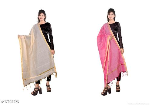 Stylish New Jaipuri Chanderi Silk Combo Dupatta with Zari Work for Women's and Girl's