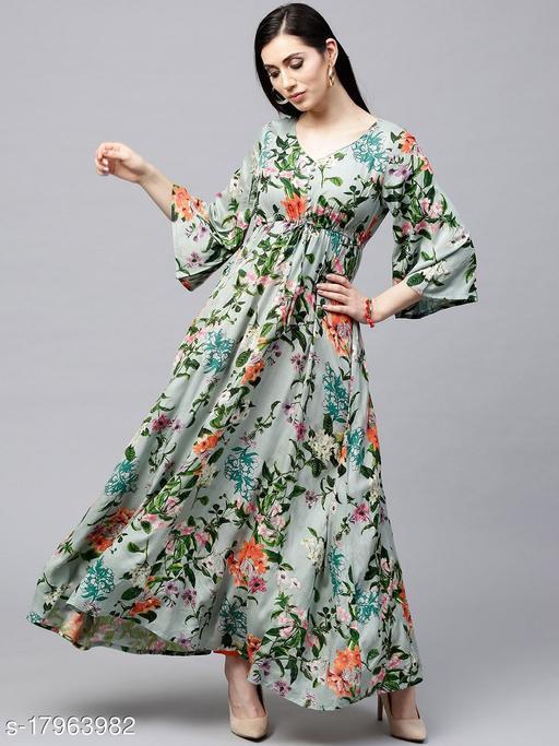 Antaran Women Floral Print Cotton Blend Ethnic Dress  (Multicolor)