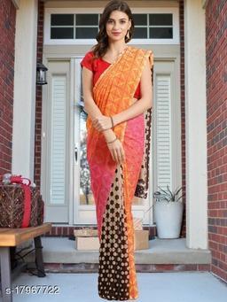 GoSriki Multi color Georgette Fabric Printed Saree (Aakruti-430-1)