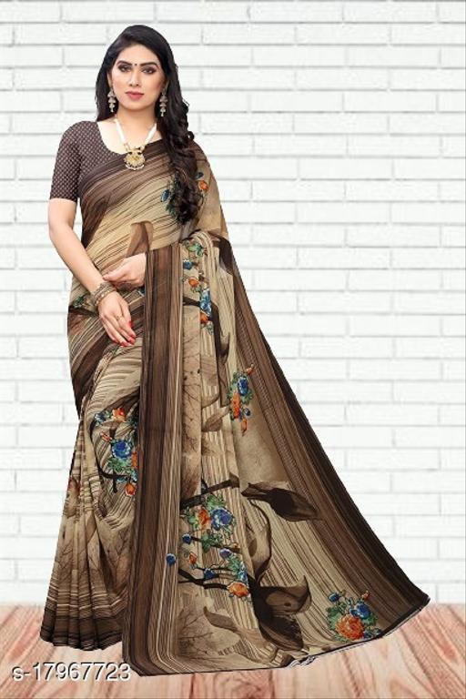 GoSriki Brown color Georgette Fabric Printed Saree (INDU BROWN-1)