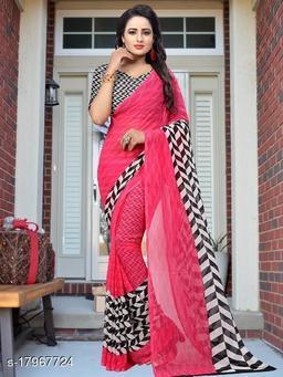 GoSriki Pink color Georgette Fabric Printed Saree (Piku Pink-1)