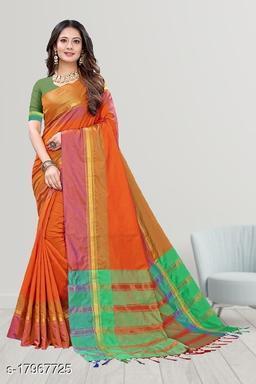 GoSriki Orange Color Art Silk Fabric Plain Saree (TASHHU ORANGE)