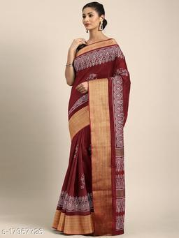 GoSriki Maroon Color Linen Fabric Printed Saree (INK-MAROON)