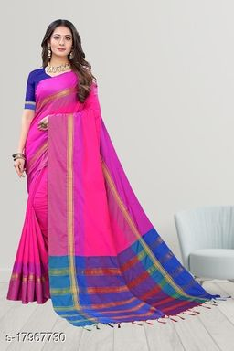 GoSriki Pink Color Art Silk Fabric Plain Saree (TASHHU PINK)