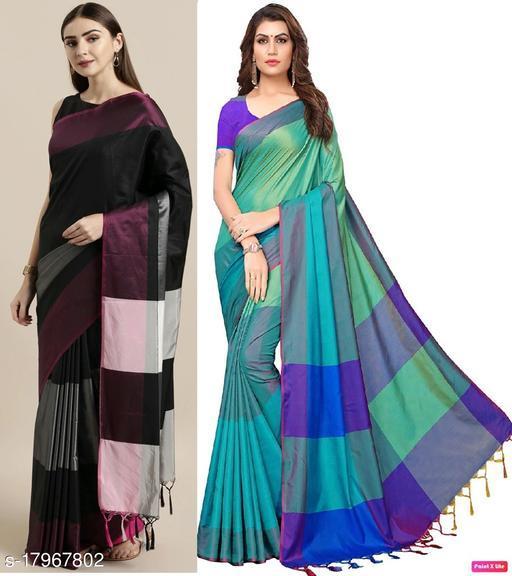 GoSriki Multi Color Art Silk Fabric Plain Combo of Saree 2 (Sana Combo_5)